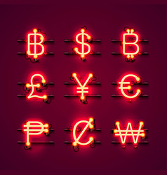 currency neon symbols set on the red background vector image vector image