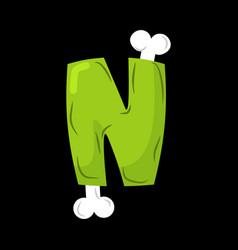 letter n zombie font monster alphabet bones and vector image vector image