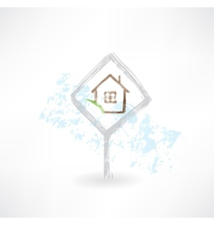 plate house grunge icon vector image vector image