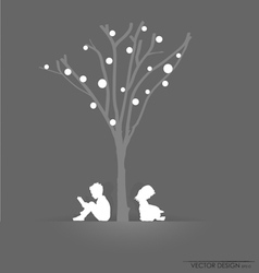 Tree background with children reading vector image vector image