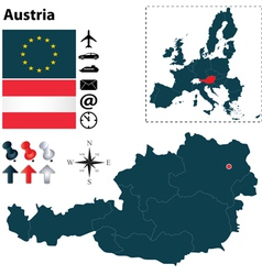 Austria and European Union map vector image vector image