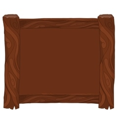 Dark brown wooden frame on white background vector image