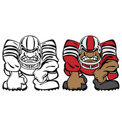 football player in a 3 point stance cartoon vector image vector image