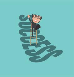 happy businessman climb up ladder of success vector image
