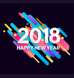 happy new year 2018 color gradient decoration card vector image vector image