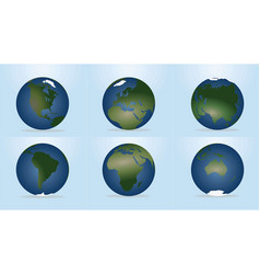world globe with continents map vector image