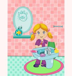 cute blonde little girl dressed in pajama vector image vector image