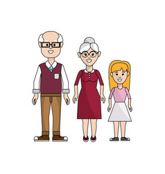 grandparents with their granddaughter icon vector image