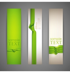 set of banners with green ribbons vector image vector image