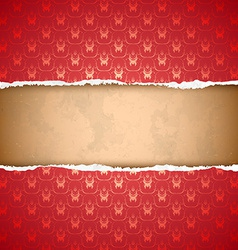 Torn red ornamental wallpaper vector image vector image