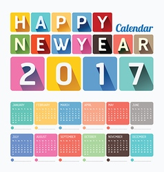 2017 Calendar colorful happy new year design vector