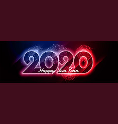 2020 happy new year shiny neon colorful banner vector image