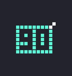 90 year anniversary pixel number template design vector