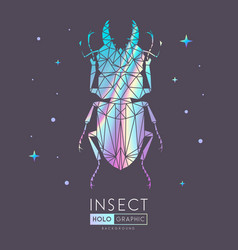 abstract polygonal triangle holographic beetle vector image