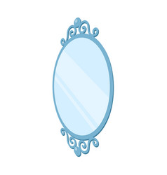 An elegant oval-shaped mirror interior single vector