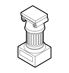 Ancient ionic pillar icon outline style vector