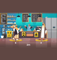 arabian cafe visitors in protective masks keeping vector image