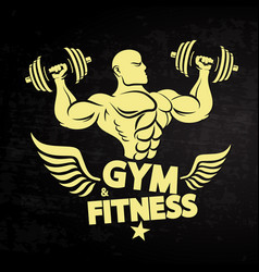 athlete with dumbbells and wings vector image