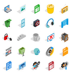 Binary code icons set isometric style vector