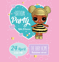 birthday invitation with cute lol dolls element vector image