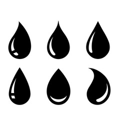 Black abstract glossy drop icons set silhouette vector