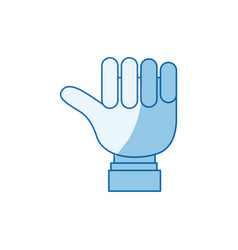 Blue color shading silhouette hand closed with vector