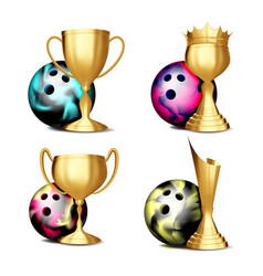bowling game award set bowling ball vector image