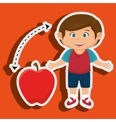 Boy cartoon fruit apple red vector
