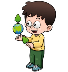 Boy holding the planet earth vector image