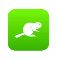 canadian beaver icon digital green vector image