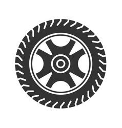 Car rim and tire glyph icon vector