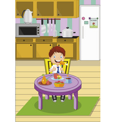 cartoon school boy eating lunch sitting at the vector image