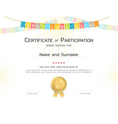 certificate template in colorful theme with vector image
