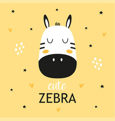 Childish poster with cute zebra vector