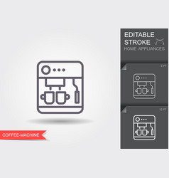 coffee maker machine line icon with editable vector image