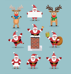 collection cute cartoons santa claus and vector image