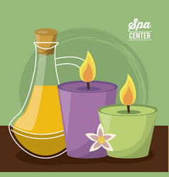 Color poster of spa center with set of candles and vector