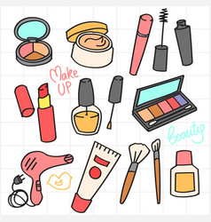 Cosmetic and beauty product doodle collection vector