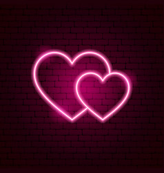 couple hearts neon sign vector image