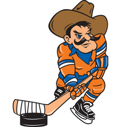cowboy sports hockey logo mascot vector image
