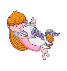 Cute girl hugging nice unicorn vector