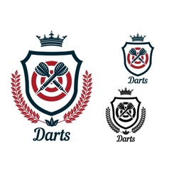 Darts emblems or signs set vector