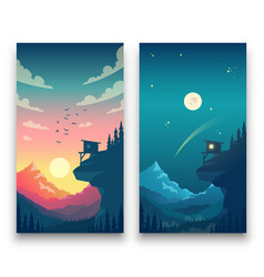 Day and night flat mountain landscape with vector