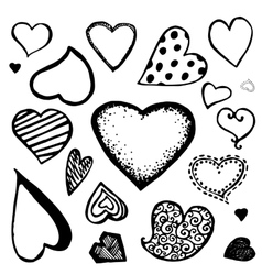 Doodle heart icons vector image