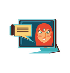 face woman in computer monitor and speech bubble vector image