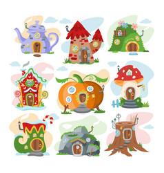 Fantasy house cartoon fairy treehouse and vector