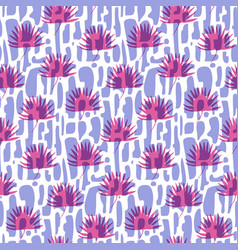 fashion pattern with bricks and pink tropic leaves vector image