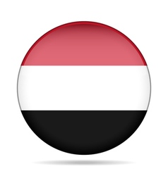 Flag of Yemen Shiny round button vector