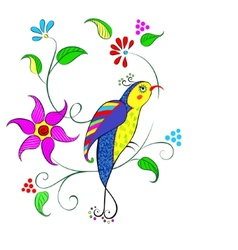 Flowers with bird vector image