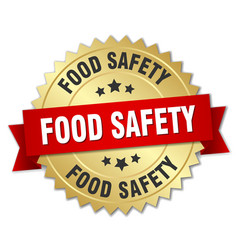 Food safety round isolated gold badge vector